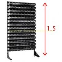 Черная односторонняя стойка для метизов 1.5 м с ящиками