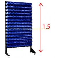 Стеллаж односторонний синий 1.5 метров с ящиками дял метизов